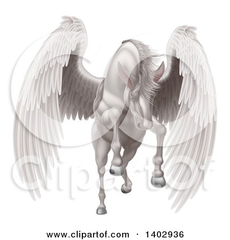 Clipart of a Majestic White Winged Horse Pegasus Flying Forward - Royalty Free Vector Illustration by AtStockIllustration
