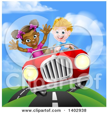 Clipart of a Happy White Boy Driving a Black Girl and Catching Air in a Convertible Car on a Country Road - Royalty Free Vector Illustration by AtStockIllustration