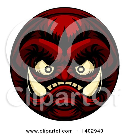 Clipart of a Grinning Samurai Demon Monster Face - Royalty Free Vector Illustration by AtStockIllustration