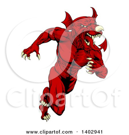 Clipart of a Muscular Aggressive Red Welsh Dragon Man Mascot Sprinting Upright - Royalty Free Vector Illustration by AtStockIllustration