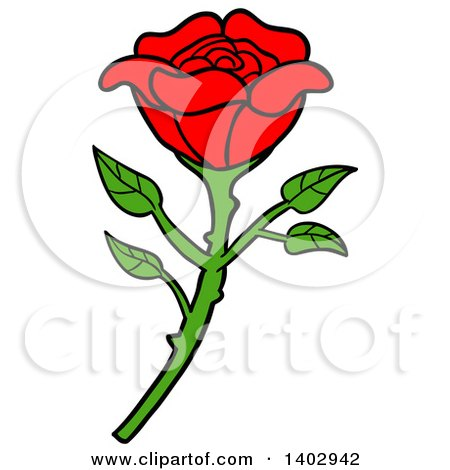 Cartoon Clipart of a Beautiful Red Rose - Royalty Free Vector Illustration by LaffToon