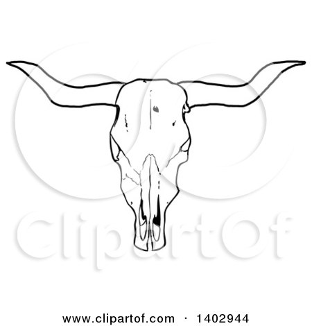 Cartoon Clipart of a Black and White Long Horn Steer Cow Skull - Royalty Free Vector Illustration by LaffToon