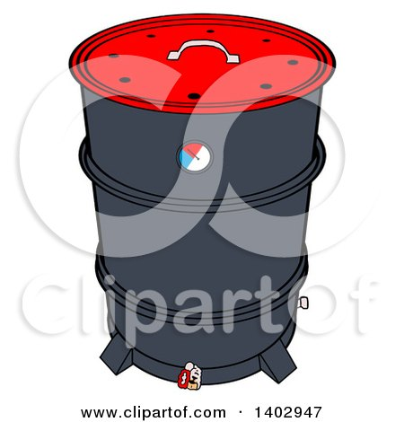 Cartoon Clipart of a Drum Barrel Bbq Smoker - Royalty Free Vector Illustration by LaffToon