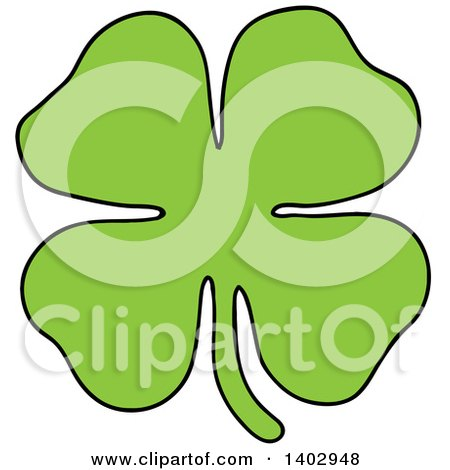 Cartoon Clipart Of A Green St Patricks Day Lucky Four Leaf Clover Royalty Free Vector Illustration