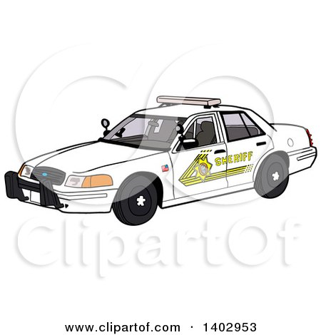 Cartoon Clipart of a White Sheriff Police Car - Royalty Free Vector Illustration by LaffToon