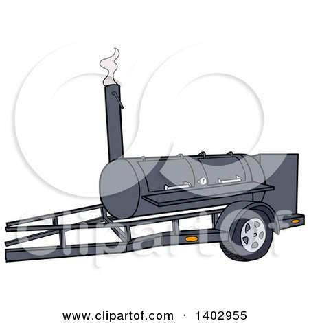 Cartoon Clipart of a Bbq Cooker on a Trailer - Royalty Free Vector Illustration by LaffToon