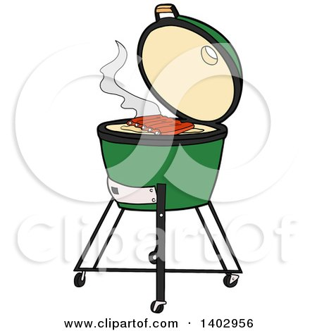 Cartoon Clipart of a Big Green Egg Bbq Cooker with Ribs on the Grill - Royalty Free Vector Illustration by LaffToon