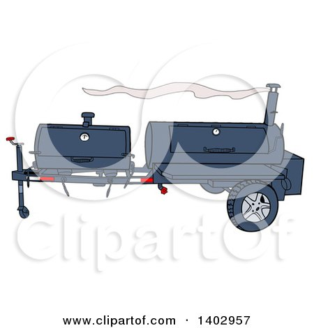 Cartoon Clipart of a Lang Bbq Cooker on a Trailer - Royalty Free Vector Illustration by LaffToon