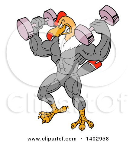 Cartoon Clipart of a Bodybuilder Condor Working out with Dumbbells - Royalty Free Vector Illustration by LaffToon