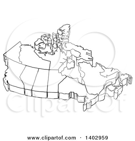 Cartoon Clipart of a Black and White Canadian Map Royalty Free