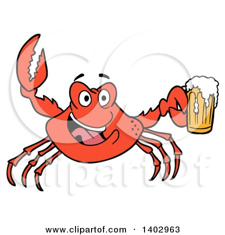 Cartoon Clipart of a Red Crab Cheering and Holding a Beer Mug - Royalty Free Vector Illustration by LaffToon
