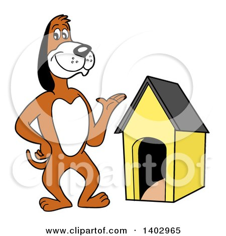 Cartoon Clipart of a Presenting Beagle Dog Standing by a House - Royalty Free Vector Illustration by LaffToon