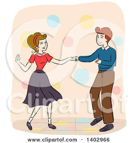 Clipart Of A Sketched Retro Couple Dancing Royalty Free Vector Illustration