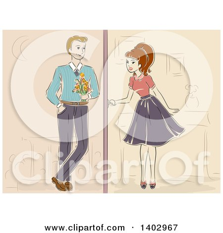 Clipart of a Sketched Retro Woman Meeting for a Date - Royalty Free Vector Illustration by BNP Design Studio