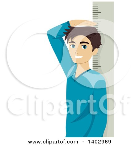 Clipart of a Teenage Boy Measuring His Height - Royalty Free Vector Illustration by BNP Design Studio