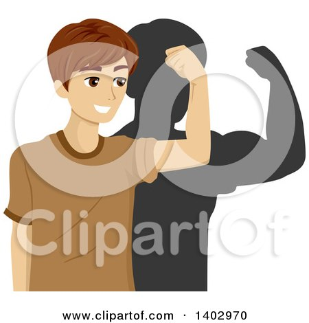 Clipart of a Teenage Guy Flexing His Bicep Muscle and Seeing His Shadow Much Stronger Than He Really Is - Royalty Free Vector Illustration by BNP Design Studio