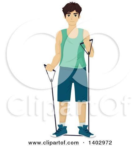 Clipart of a Teenage Guy Working out with Resistance Bands - Royalty Free Vector Illustration by BNP Design Studio
