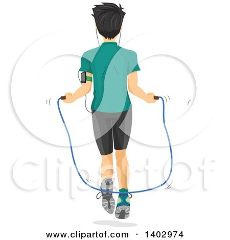 Clipart of a Rear View of a Teen Guy Using a Jump Rope - Royalty Free Vector Illustration by BNP Design Studio