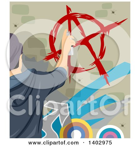 Clipart of a Teenage Guy Painting an Anarchy Symbol on a Wall - Royalty Free Vector Illustration by BNP Design Studio