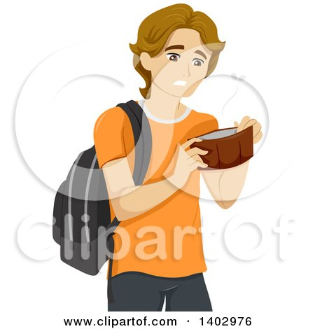 Clipart of a Broke White Teen Guy Opening an Empty Wallet - Royalty Free Vector Illustration by BNP Design Studio