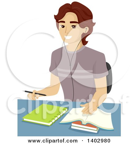 Clipart of a Happy Teen Guy Studying - Royalty Free Vector Illustration by BNP Design Studio