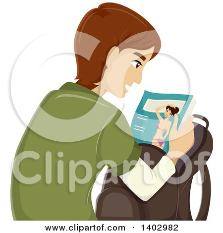 Clipart of a Caucasian Teen Guy Looking at an Adult Magazine - Royalty Free Vector Illustration by BNP Design Studio