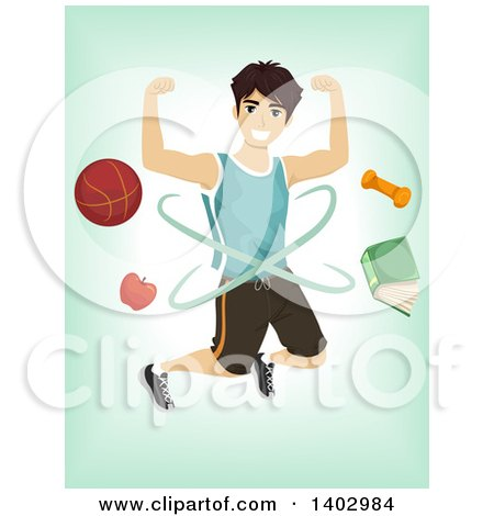 Clipart of a Sporty Teenage Guy with Equipment over Green - Royalty Free Vector Illustration by BNP Design Studio