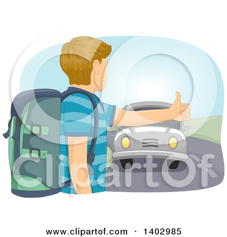 Clipart of a Caucasian Teen Guy Hitchhiking - Royalty Free Vector Illustration by BNP Design Studio
