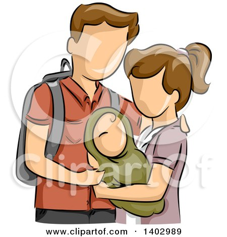 Clipart of a Sketched White Teen Couple Holding Their Baby - Royalty Free Vector Illustration by BNP Design Studio