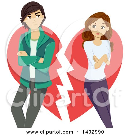 Clipart of a Teen Couple Breaking up over a Heart - Royalty Free Vector Illustration by BNP Design Studio