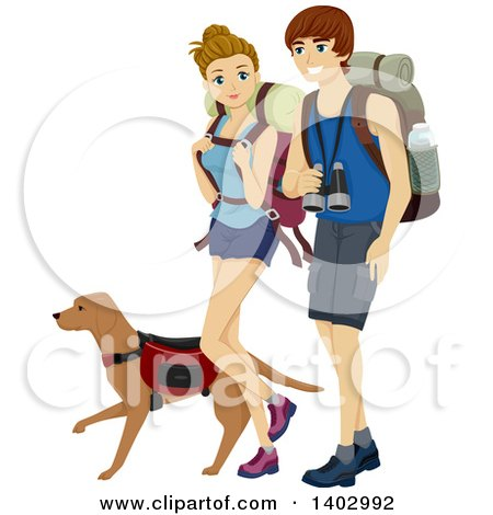 Clipart of a Caucasian Teen Couple Hiking with a Dog - Royalty Free Vector Illustration by BNP Design Studio