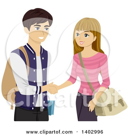 Clipart of a Teen Girl and Boy Shaking Hands - Royalty Free Vector Illustration by BNP Design Studio