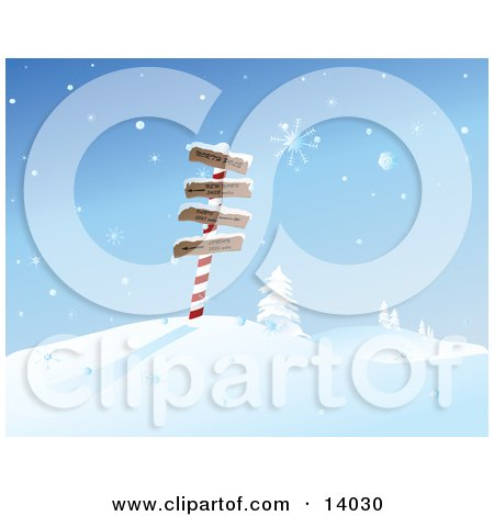 Snowflakes Falling Over Directional Signs to the North Pole, New York, Paris and London on a Post in the North Pole Clipart Illustration by Rasmussen Images