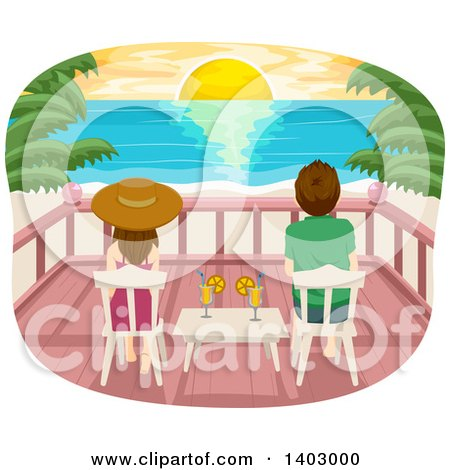 Clipart of a Rear View of a Couple Sitting on Chairs on a Deck and Watching a Sunset over a Tropical Beach - Royalty Free Vector Illustration by BNP Design Studio