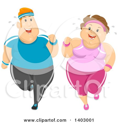 Clipart of a Cartoon Happy Overweight Caucasian Couple Jogging and Working out Together - Royalty Free Vector Illustration by BNP Design Studio