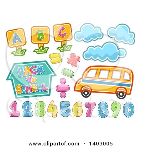Clipart of a School Bus, Clouds, Alphabet Letters and Numbers - Royalty Free Vector Illustration by BNP Design Studio