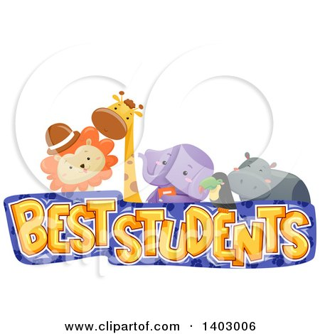 Clipart of a Best Students Design with a Lion, Giraffe, Elephant, Toucan and Hippo - Royalty Free Vector Illustration by BNP Design Studio