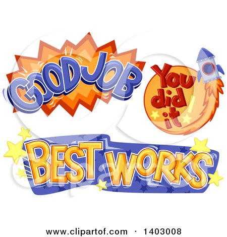 Clipart of Good Job, You Did It and Best Works School Achievement Designs - Royalty Free Vector Illustration by BNP Design Studio