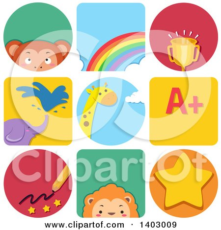 Clipart of Educational and Animal Icons - Royalty Free Vector Illustration by BNP Design Studio
