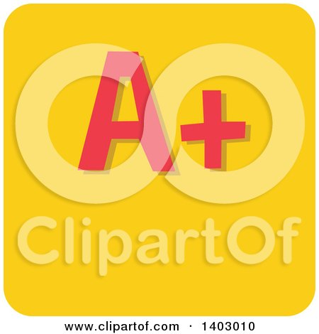 Clipart of a Red a Plus Grad on a Yellow Tile - Royalty Free Vector Illustration by BNP Design Studio