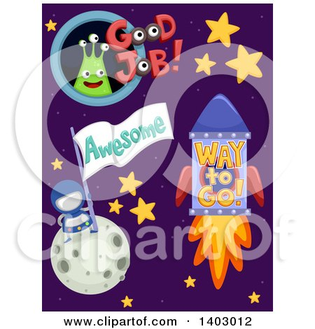 Clipart of Outer Space Educational Encouragment Designs - Royalty Free Vector Illustration by BNP Design Studio