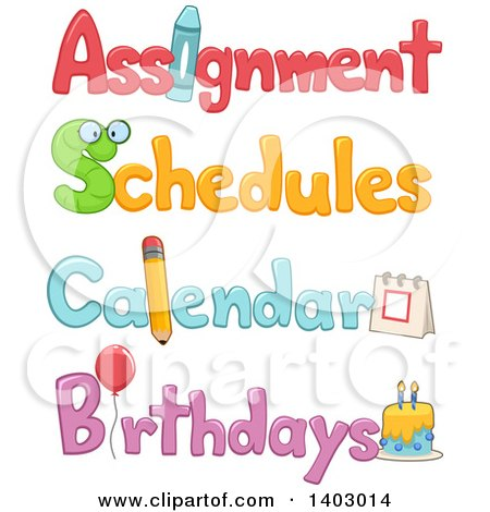 Clipart of Assignment, Schedule, Calendar and Birthdays Text Designs - Royalty Free Vector Illustration by BNP Design Studio