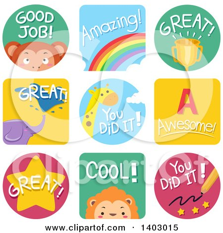 Clipart of Educational Encouragement and Animal Labels - Royalty Free Vector Illustration by BNP Design Studio