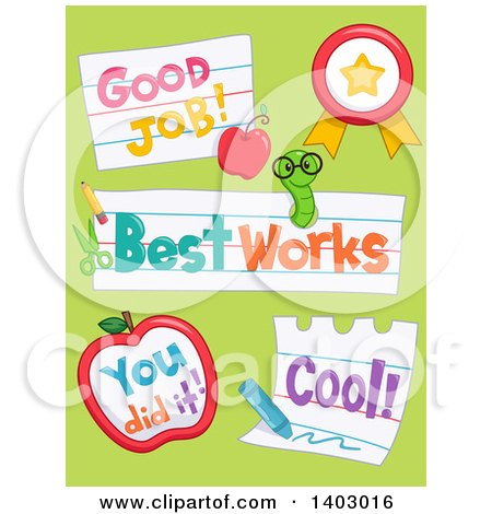 Clipart of Good Job, Best Work, You Did It, and Cool School Designs on Green - Royalty Free Vector Illustration by BNP Design Studio