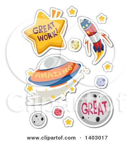 Clipart of Great Work, Amazing and Great Outer Space Educational Compliments - Royalty Free Vector Illustration by BNP Design Studio