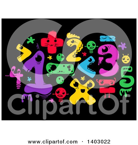 Clipart of Colorful Monster Math Numbers and Symbols on Black - Royalty Free Vector Illustration by BNP Design Studio