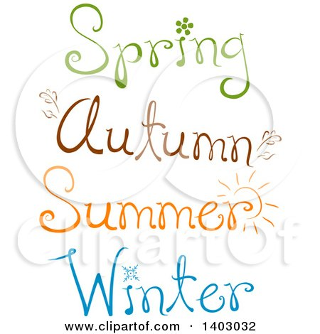 Clipart of Spring, Autumn, Summer and Winter Text Designs - Royalty Free Vector Illustration by BNP Design Studio