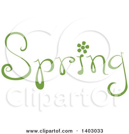 Clipart of a Spring Word Seasonal Design in Green, with a Flower - Royalty Free Vector Illustration by BNP Design Studio