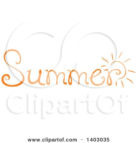 Clipart Of A Summer Word Seasonal Design In Orange With A Sun Royalty Free Vector Illustration