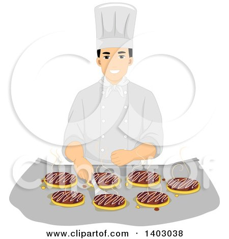Clipart Of A Brunette Caucasian Male Chef Carrying A Metal